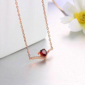 Red Garnet heart love necklace rose gold elegant